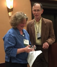 Caroline Alves accepting the Peter S. Thacher Award at the 2015 Fall NEARC Conference